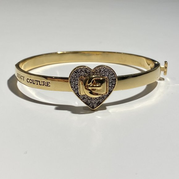 Juicy Couture Rhinestone Heart Hinged Bracelet